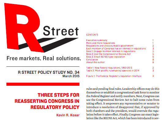 Three Steps for Reasserting Congress in Regulatory Policy