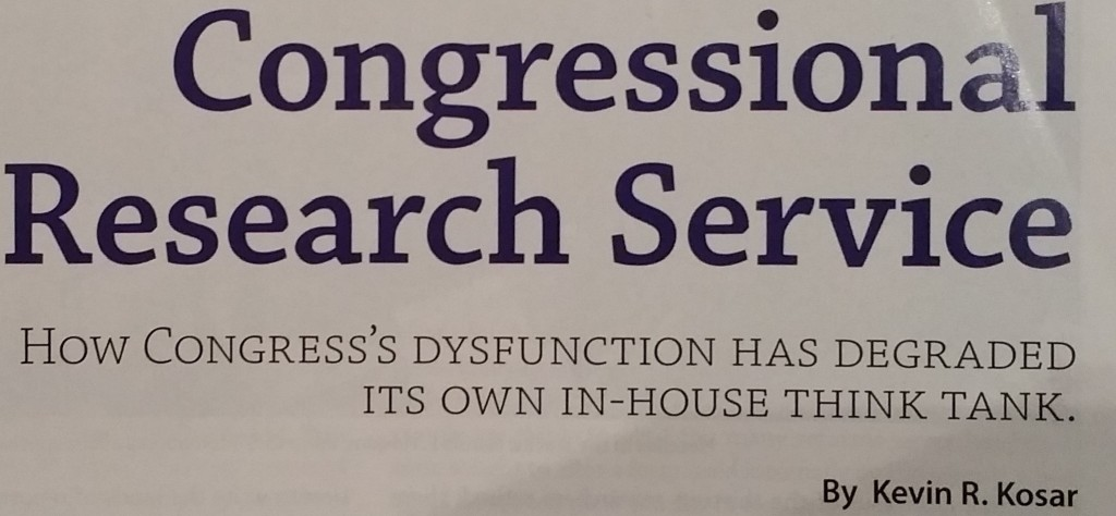 My magazine article on the Congressional Research Service