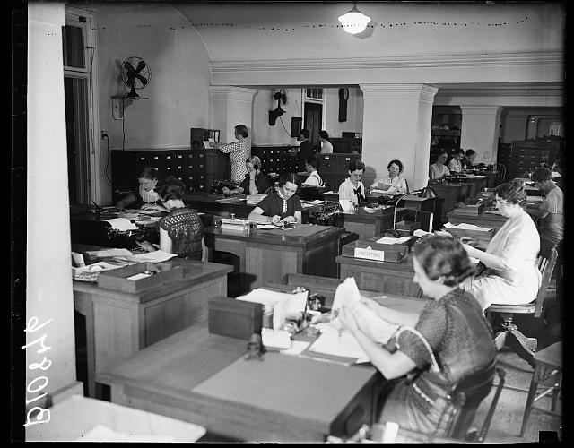Civil Service Commission Record Room (1936). Source: Library of Congress.