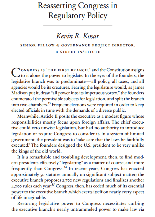 """Reasserting Congress in Regulatory Policy,"" in Policy Reforms for an Accountable Administrative State (National Affairs, 2017)"