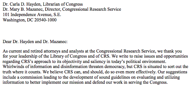 The struggle between objectivity vs. neutrality continues at the Congressional Research Service