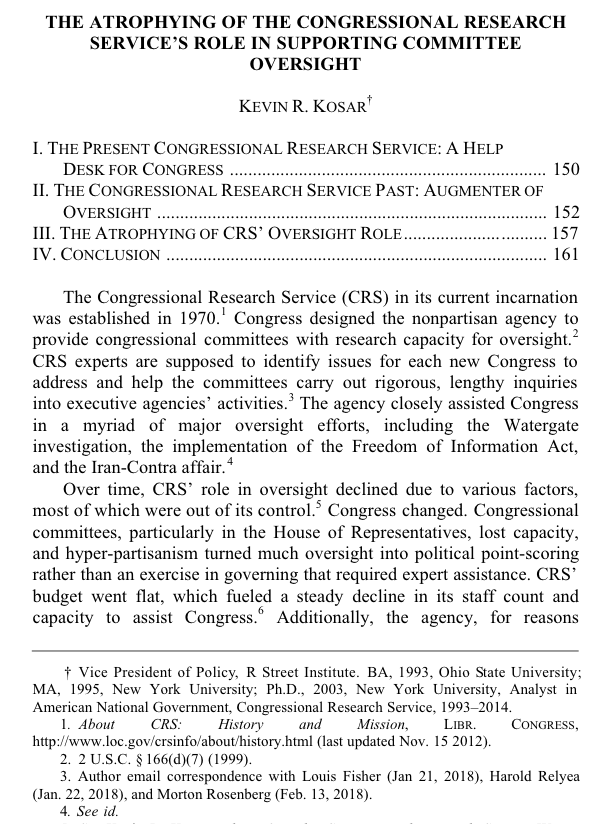 The Atrophying of the Congressional Research Service's Role in Supporting Committee Oversight